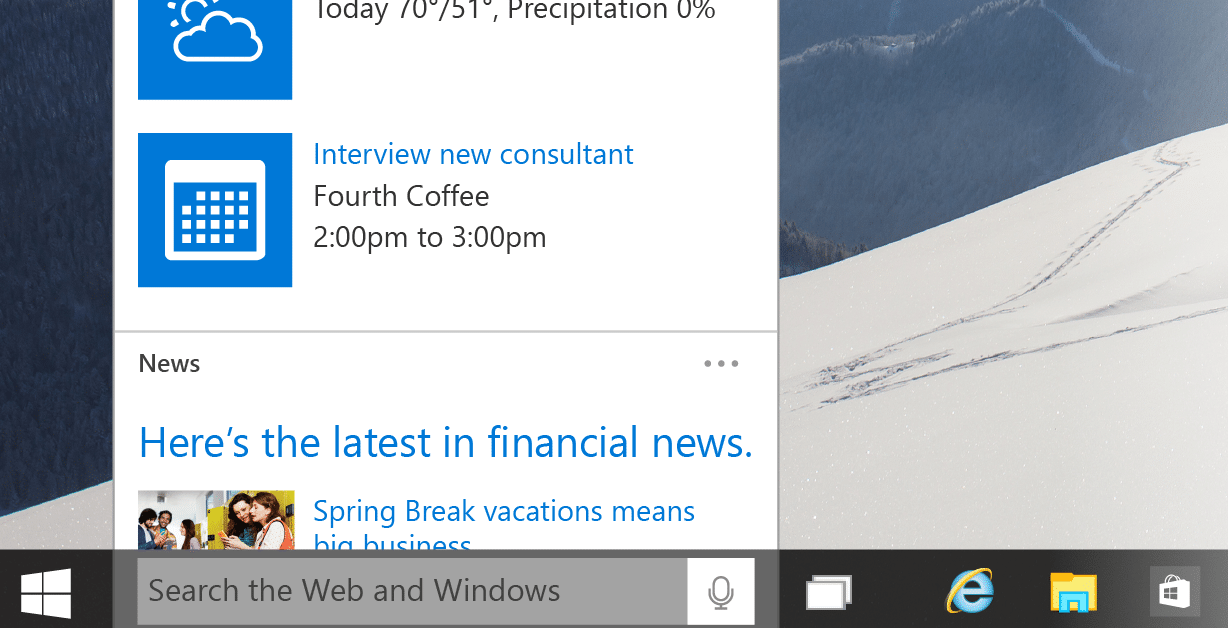 windows 10 search bar