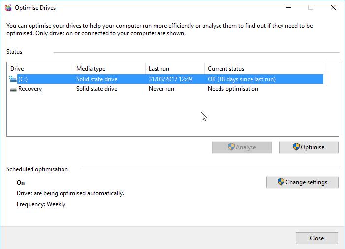 optimise drives screen