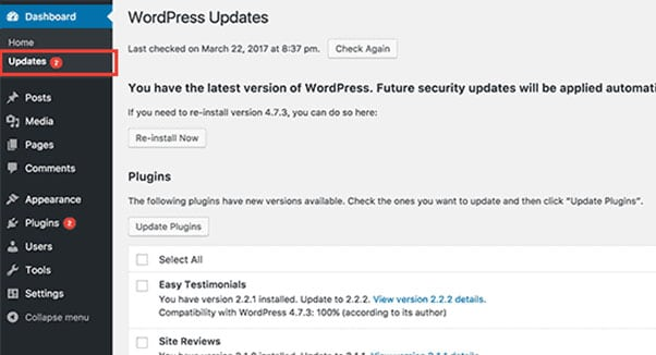 wordpress brute force attacks - updates